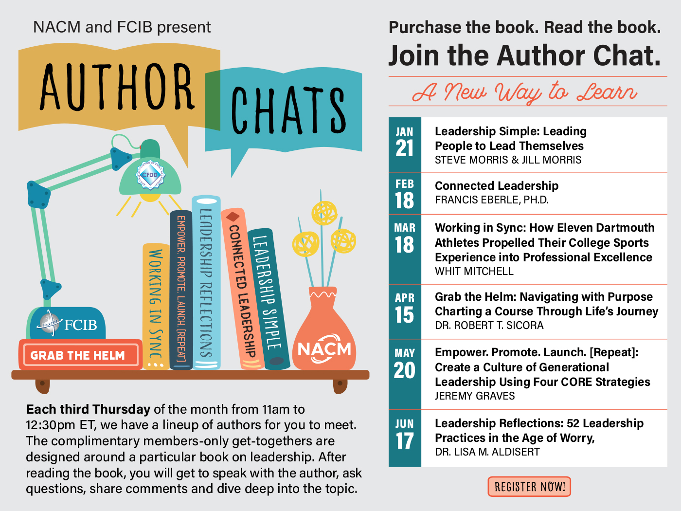 NACM and FCIB present, Author Chats. Every 3rd Thursday of the month from 11am to 12:30pm ET